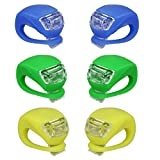 Bike Bicycle Lights Front and Rear, Silicone Led Bike Light Set for Night Riding,6 Pack,waterproof Headlight & Taillight for Cycling Safety (2 Green,2 Blue,2 Yellow)