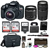 Canon Rebel T6 DSLR Camera w/18-55mm & 75-300mm Lenses Canon 100ES Bag, Flash, Filter kit+ 32GB Promotional Holiday Bundle