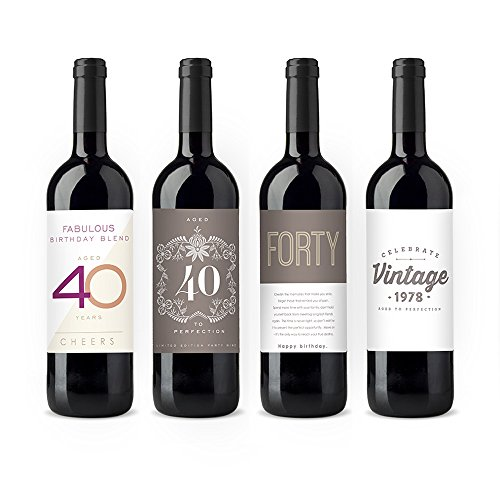 Yolo Studio 40th Birthday Party Wine Bottle Labels Unisex Theme Set Of 4 Selection (40th Party Themes)