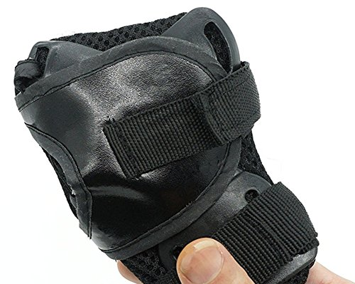 6Pcs Kids Elbow Wrist Protective Knee Pads Protective Gear Guard for Skateboard Biking Skating(black)