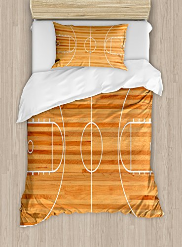 Lunarable Boy's Room Duvet Cover Set Twin Size, Standard Floor Plan on Parquet Backdrop Basketball Court Playground Print, Decorative 2 Piece Bedding Set with 1 Pillow Sham, Pale Brown ()