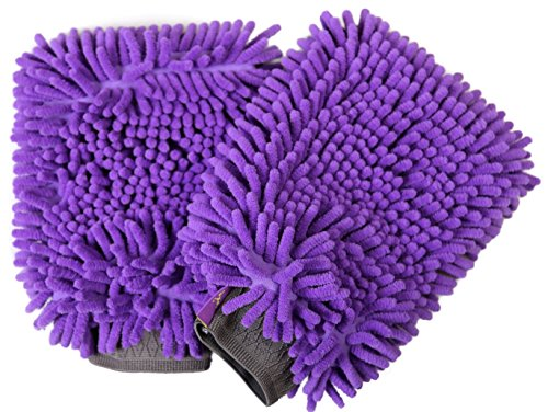 Hertzko 2 Pack Pet Towel Glove Ultra Absorbent Chenille Coral Fleece Material - Great for Drying Dog or Cat Fur After Bath