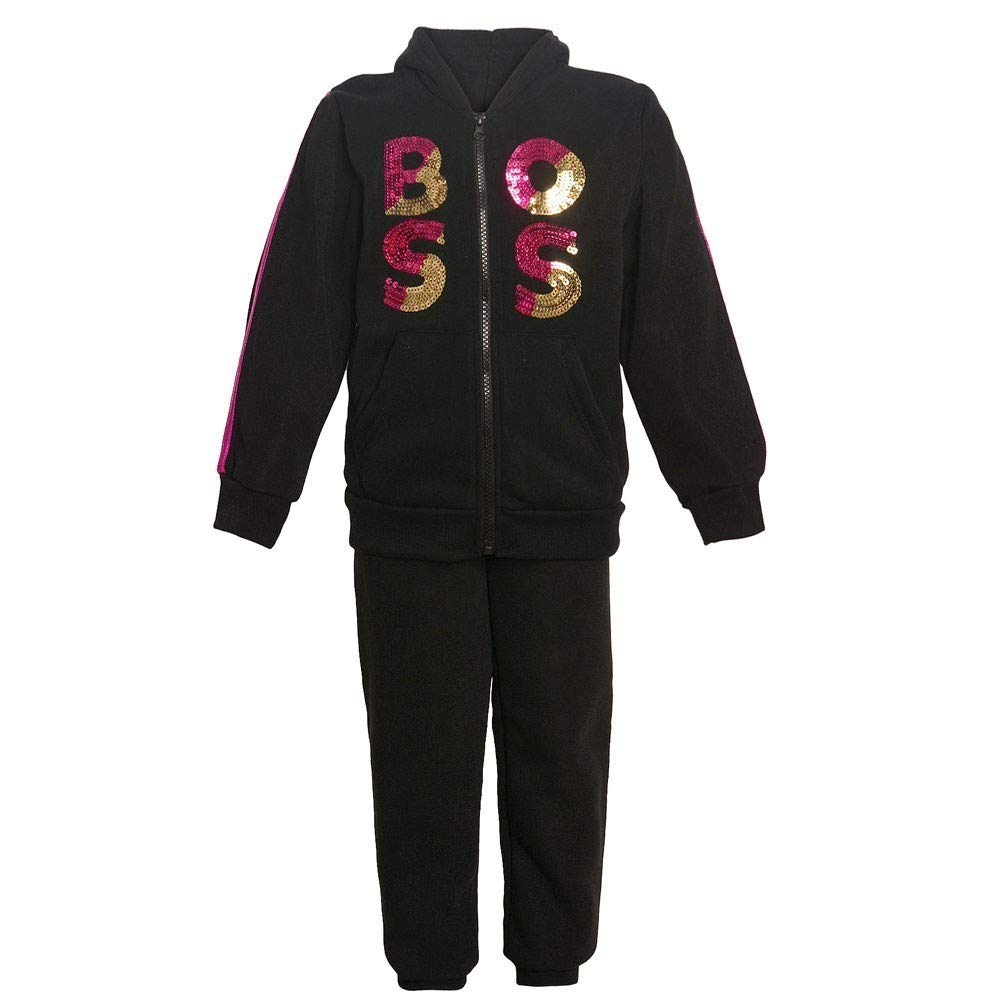 Big Girls Black Boss Sequin Applique Hooded Top 2 Pc Pant Outfit 7-12