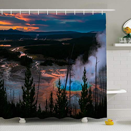 Ahawoso Shower Curtain 60x72 Inches Natural Blue Prismatic Yellowstone Park After Sunset Grand Nature Spring Geyser Wyoming Design Waterproof Polyester Fabric Bathroom Curtains Set with Hooks