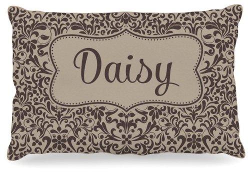 Kess InHouse KESS Original Daisy  Damask Name Fleece Dog Bed, 30 by 40-Inch, Brown Tan