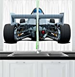 Ambesonne Cars Kitchen Curtains, Back View of a Formula 1 Race Car Rally Competition Sports Cartoon Style, Window Drapes 2 Panel Set for Kitchen Cafe, 55 W X 39 L Inches, Bluegrey Black White