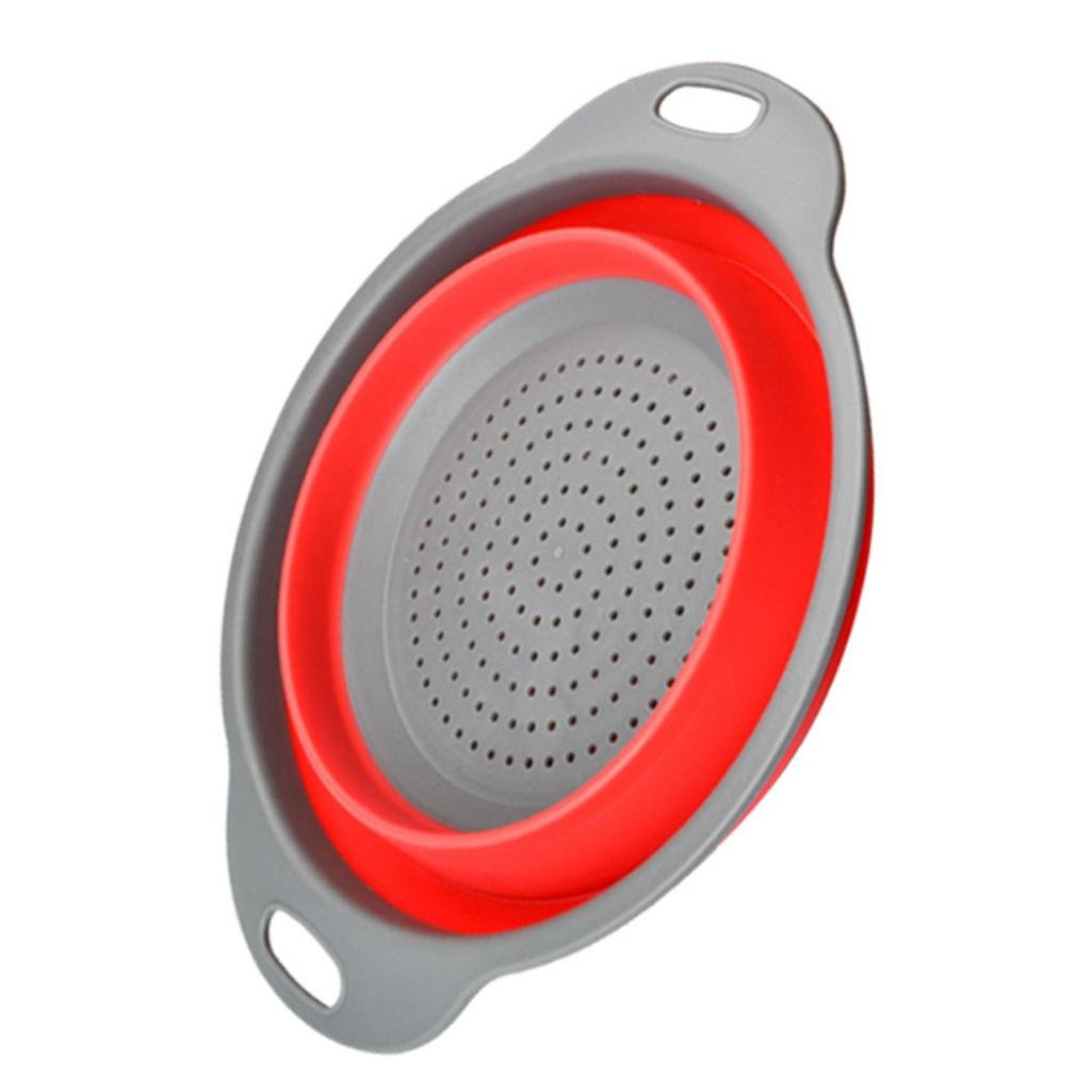 FTXJ Circular Foldable Silicone Colander Fruit Vegetable Washing Basket Strainer Collapsible Drainer With Handle Kitchen Tool (Red, Small)