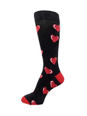 polymedea red large hearts on mens black dress socks valentines - Valentines Socks