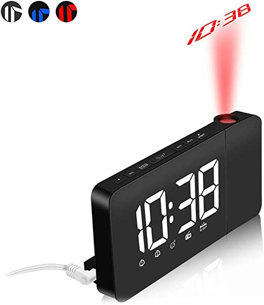 NANANA Despertador Digital Proyector, Radio LED Grande de FM ...