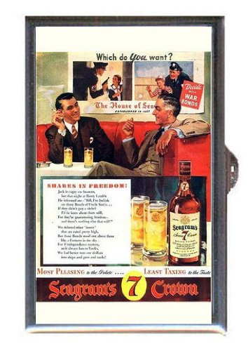lended Canadian Whisky Ad Guitar Pick or Pill Box USA Made (Seagram Vo Canadian Whiskey)
