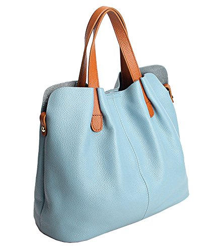 Molodo Womens Satchel Hobo Top Handle Tote Geuine Leather Handbag Shoulder Purse - Blue Leather Bag