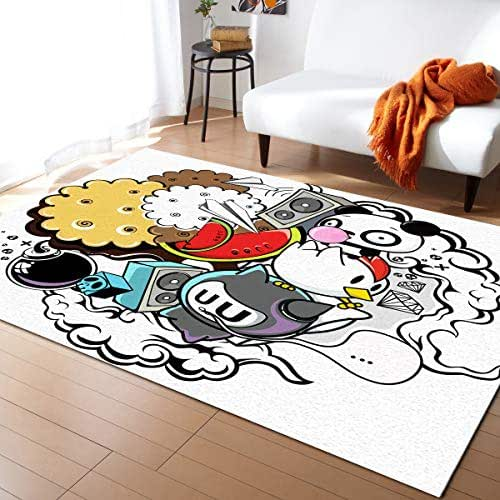 Fantasy Staring Non-Slip Area Rugs Room Mat- Cartoon Panda Food Chick and Sound Home Decor Floor Carpet for High Traffic Areas Modern Rug Kitchen Mats Living Room Pads, 5'x8'