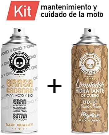 Motorrevive - Kit Grasa para Cadena de Moto + Limpiador Hidratante de Cuero