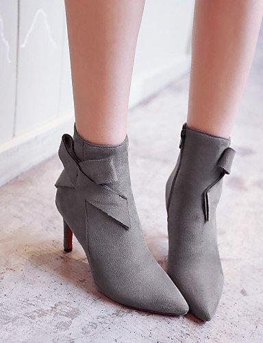 Vestido Mujer A Gray Negro Azul Eu39 De us6 Botas Cn39 Blue Gris Cn36 Xzz Eu36 Casual Uk4 Ante Puntiagudos Stiletto Zapatos us8 Uk6 Tacón La Sintético Moda EvnT60q
