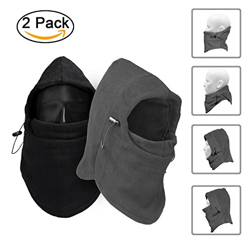 TopTops Windproof Fleece Balaclava Mask, Basic Version - Pack of 2- 1 Black & 1 Grey, One Size