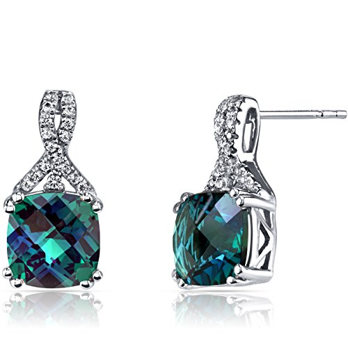 14K White Gold Created Alexandrite Earrings Ribbon Design Cushion Cut 5.00 Carats (Earrings Gold Ribbon White)