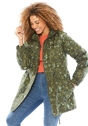 (Woman Within Plus Size Weather-Resistant Taslon Anorak - Hunter Green Dried Floral, L)