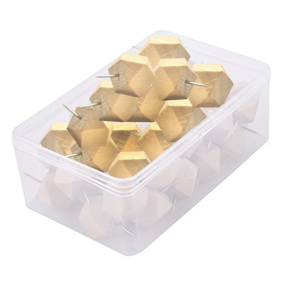 Mogist 18PCS in legno Thumbtack Diamond pin puntine puntine 6.8cm*5.4cm*2.4cm Wood
