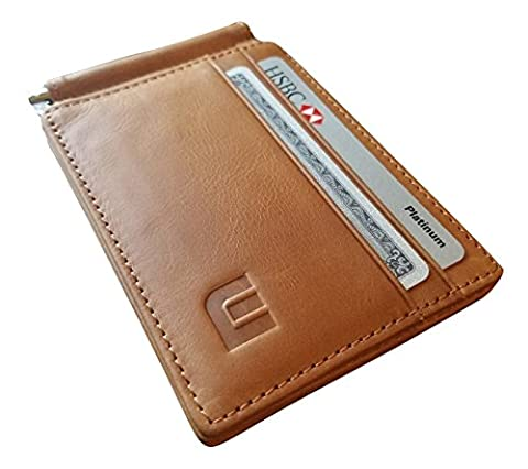 Top Grain Leather Money Clip / Front Pocket Bifold Wallet (Almond Brown) - Buttery Almond