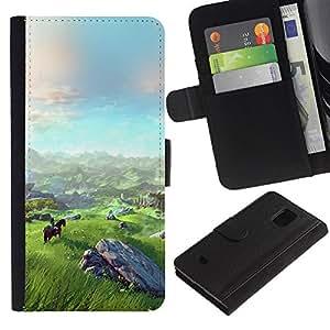 KLONGSHOP / Tirón de la caja Cartera de cuero con ranuras para tarjetas - Landscape View Mountain Horse Riding Art - Samsung Galaxy S5 Mini, SM-G800, NOT S5 REGULAR!