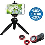 Drumstone 228 Mini Tripod Stand with Phone Clip Holder With 3 in 1 Mobile Camera Lens with WIDE, MACRO, FISH-EYE Compatible with Xiaomi, Lenovo, Apple, Samsung, Sony, Oppo, Gionee, Vivo Smartphones (One Year Warranty)