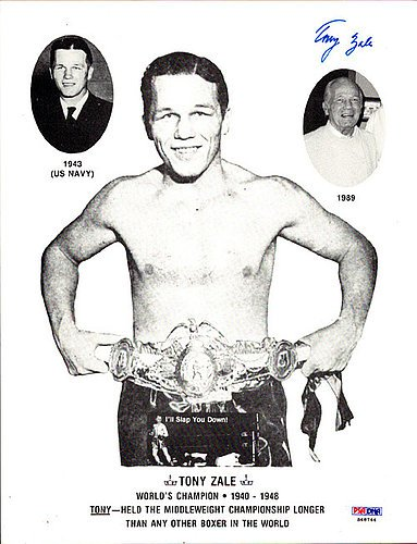 Tony Zale Signed 8X10 Photo   Psa Dna Authentication   Boxing Memorabilia
