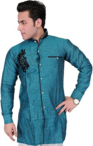 Exotic India Pacific-Blue Wedding Shirt with Embroidered Motif in Black - BlueGarment Size 42