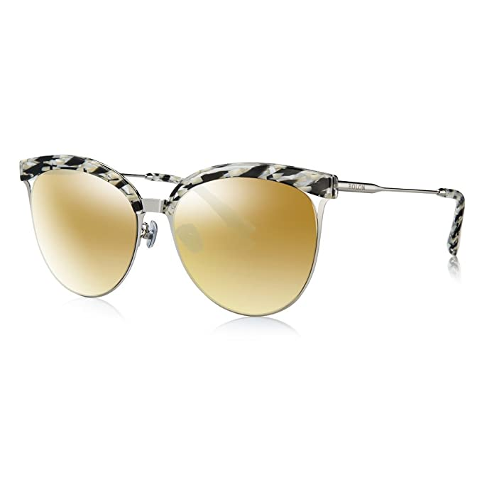 8dd32ab7ca BOLON BL6001 Women s Nylon Non-Polarized Golden Mirror Lens Cat Eye  Acetate