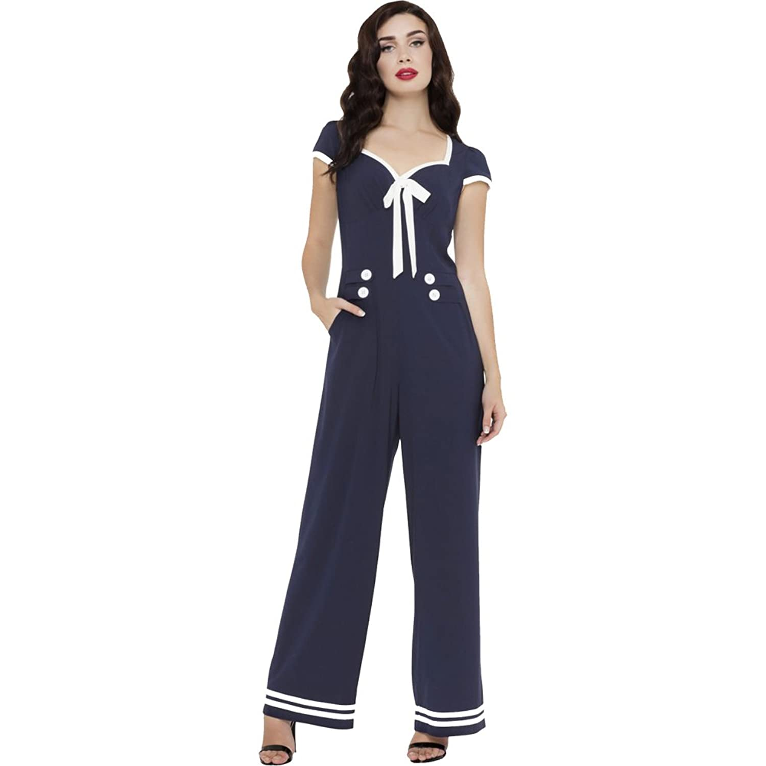 Vintage High Waisted Trousers, Sailor Pants, Jeans Womens Voodoo Vixen JOLENE Nautical Stripped Wide Leg Jumpsuit Navy $73.95 AT vintagedancer.com