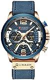 Mens Luxury Watches Business Chronograph Dress Waterproof Leather Strap Analog Quartz Wrist Watch (Blue Rose)