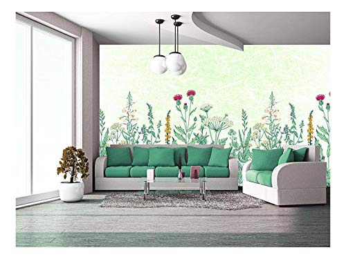 Large Wall Mural Various Kinds of Flowers on Light Green Textured Background Vinyl Wallpaper Removable Wall Decor