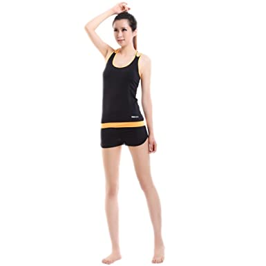 VOGUE CODE Womens Yoga Clothes Sleeveless Top and Shorts Dancing Jogging  Workout Suits (M e131228a0