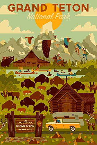 Grand Teton National Park, Wyoming - Geometric (12x18 Art Print, Wall Decor Travel Poster)