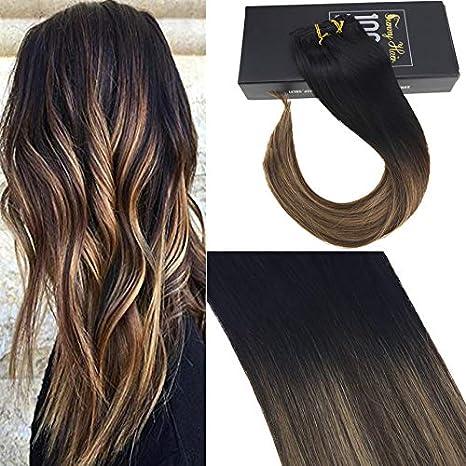 Sunny Nero Naturale al Marrone Scuro con Bionda Caramella Human Hair Extension  Clip 24Pollice 60cm ... 0b3def855d0e