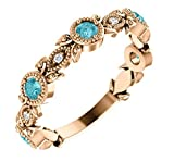 Blue Zircon and Diamond Vintage-Style Ring, 14k Rose Gold (0.03 Ctw, G-H Color, I1 Clarity)