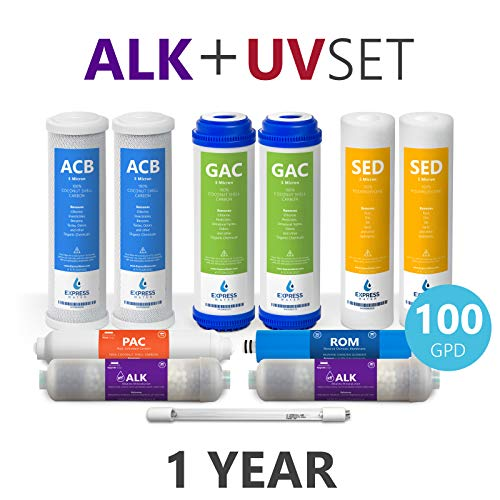 Express Water - 1 Year Alkaline Ultraviolet Reverse Osmosis System Replacement Filter Set - 11 Filters with UV and 100 GPD RO Membrane - 10 inch Size Water Filters