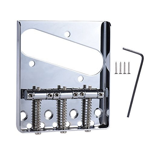 - ammoon 3 Saddle Ashtray Bridge Tailpiece Chrome Plated for Telecaster Tele Electric Guitar Replacement Part with Screws Wrench