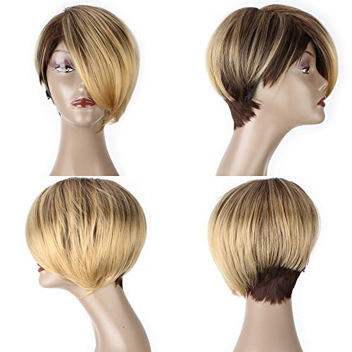 Synthetic Straight Wigs For Women 6Inch 110G Short Ombre Blo