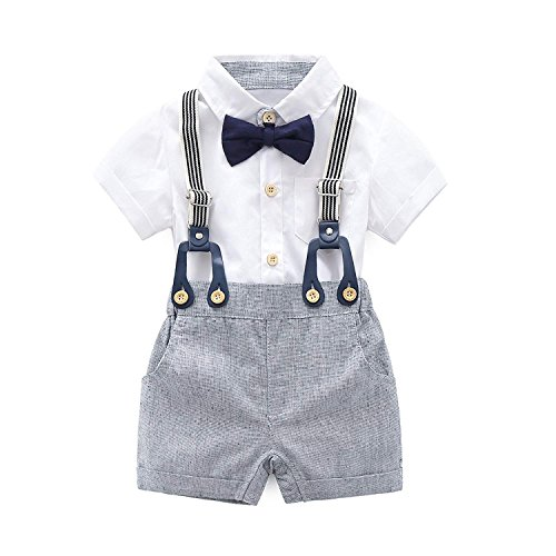 (KiKibaby Baby Boys Gentleman White Outfits Suits, Infant Short Sleeve Shirt+Bib Pants+Bow Tie Overalls Clothes Set)