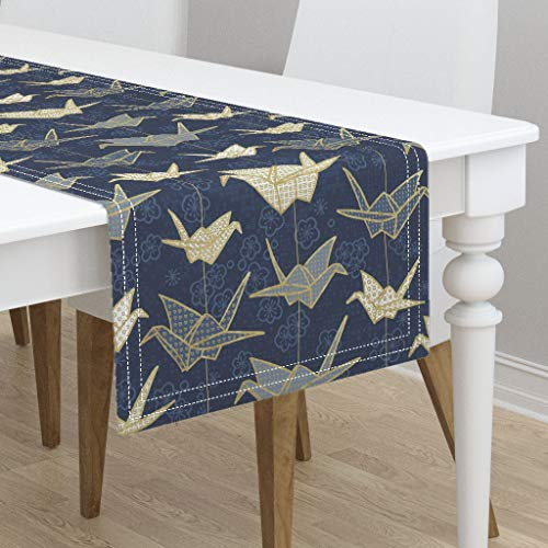 Table Runner - Origami Sadako'S Good Luck Cranes Origami Japanese Art Navy Origami Japanese by Marketa Stengl - Cotton Sateen Table Runner 16 x 72