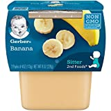 Gerber 2nd Foods Bananas, 4 oz Tubs, 2 Count (Pack of 8)