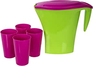 Pitcher with Four Cups, Multi Color