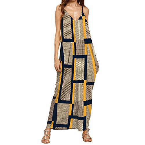 Kimloog Women's Halter Sleeveless Backless Deep V- Neck Summer Floral Printed Casual Maxi Long Dress (L, Yellow)