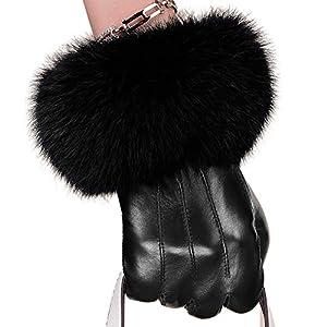 KUYOMENS Women Lady Genuine Leather Gloves Autumn Winter Warm Fox Fur Mittens (M)