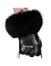 KUYOMENS Women Lady Genuine Leather Gloves Autumn Winter Warm Fox Fur Mittens