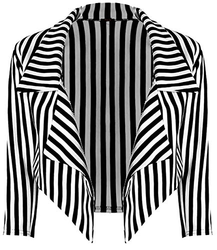 - MA ONLINE Ladies Halloween Fancy Striped Cropped Blazer Full Length Leggings Women Peter Pan Dress Striped Blazer Small/Medium US 4-6