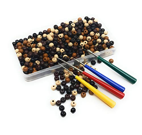 600 Bulk Wooden Beads for Crafts - 7mm - 8mm Mixed Colors with Bead Reamer Set and Storage Case