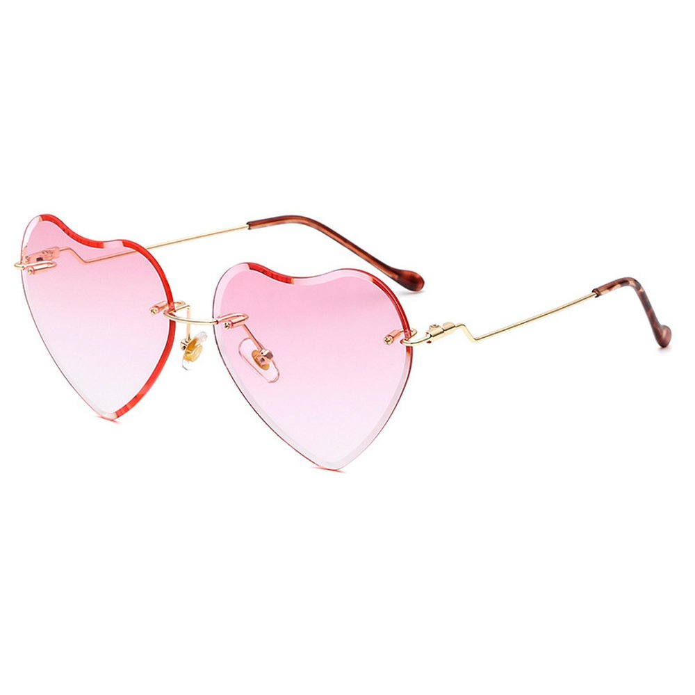 MINCL/2018 Hot Rimless Love Heart Shaped Sunglasses Womens Girls Metal Frame HD Lens UV400 (pink) by mincl (Image #1)