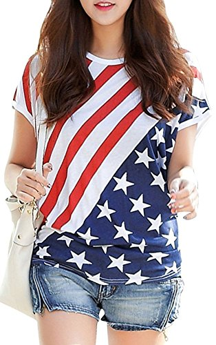 Women American Flag Shirts July 4th Printed Tunic Short Sleeve Casual Blouse Cotton Patriotic Tops White US Flag S