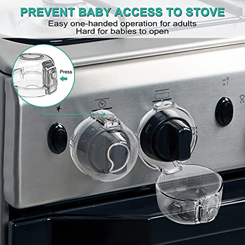 51mN2FqKAaS Stove Knob Covers for Child Safety (5 + 1 Pack) Double-Key Design and Upgraded Universal Size Gas Knob Covers Clear View Childproof Oven Knob Covers for Kids, Babies    Product Description